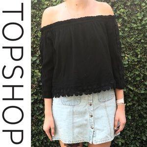 91a38ef07552a Topshop Tops - Topshop Lace Off The Shoulder Crop Top